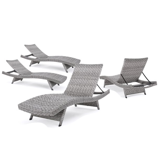 Round Folding Dining Table, Isle Of Palms Outdoor Wicker Chaise Lounge Set Of 4 Grey Walmart Com Walmart Com