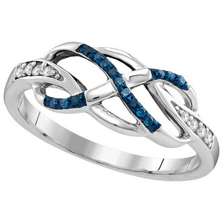 - Size - 7 - Solid 925 Sterling Silver Round Blue And White Diamond Channel Set Curved Infinity Wedding Band OR Fashion Ring (1/10 cttw)