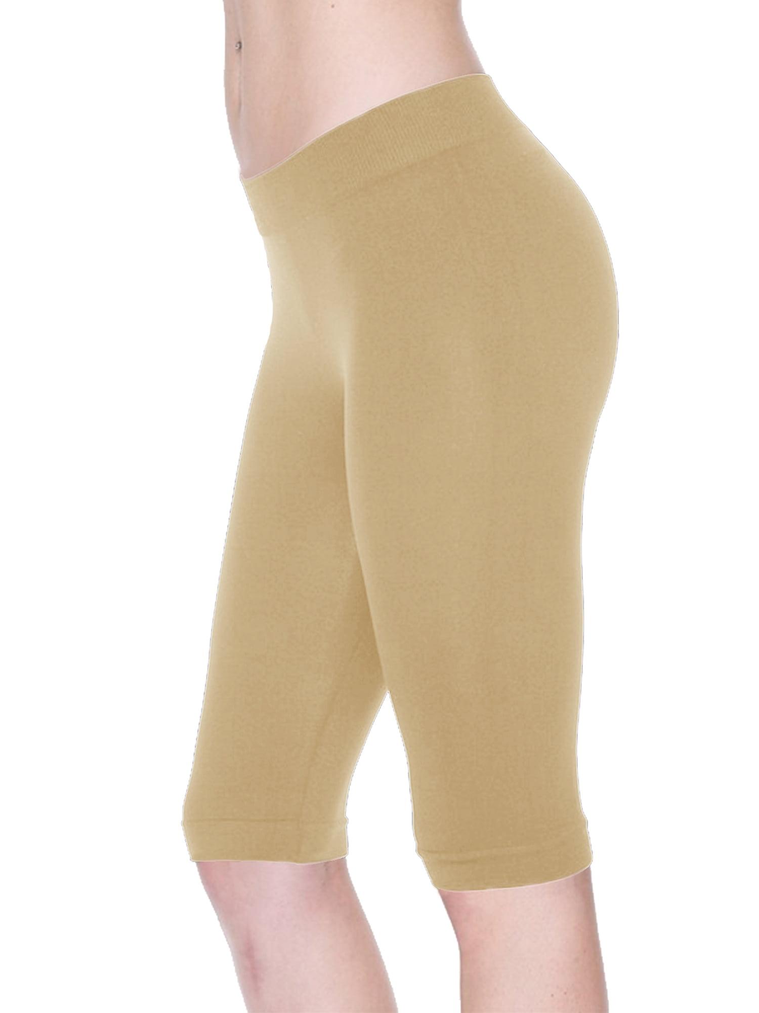 Women Seamless Basic Stretch Capri 17 in Knee Length Legging Bike Shorts