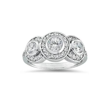 Bezel Setting Engagement Rings (3/4ct Diamond Three Stone Engagement Ring 14K White Gold Bezel Solitaire)