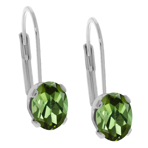 1.40 Ct Oval Green Tourmaline 14K White Gold Earrings by