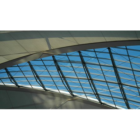 Canvas Print Metal Blue Construction Roof Technology Grey Stretched Canvas 10 x 14 ()