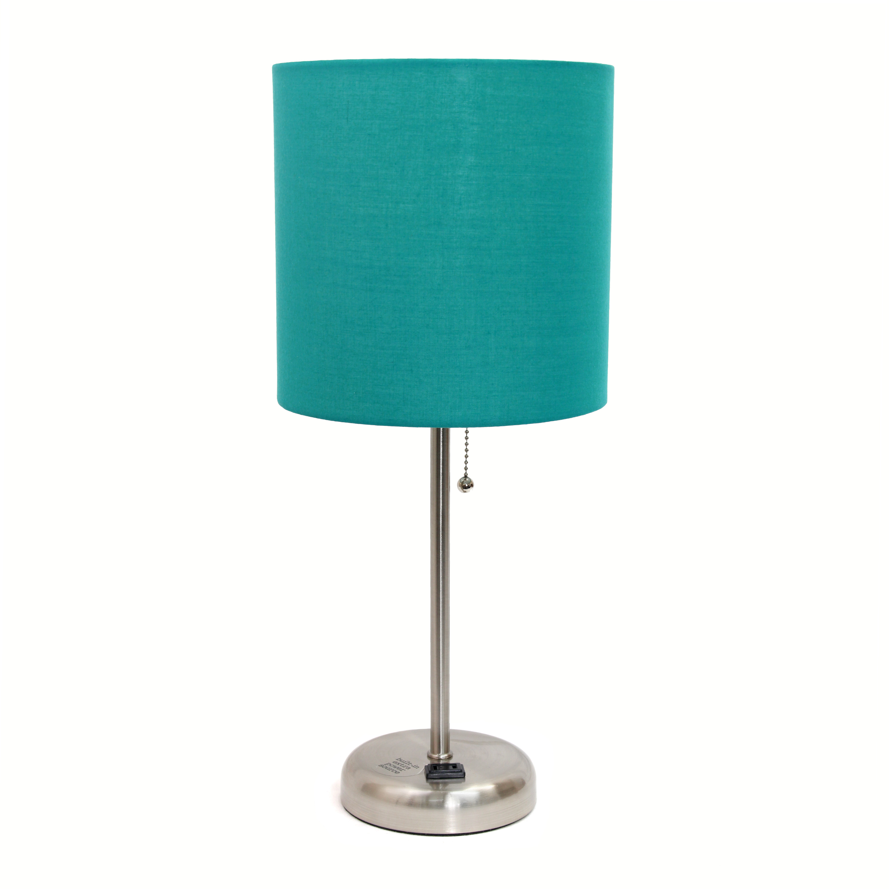 Alltherages LT2024-TEL Lime Lights Stick Lamp with Outlet, Teal Fabric Shade