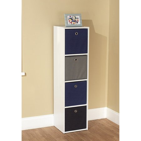 Utility Bookcase Tower with 4 Fabric Bins, Multiple Colors - Utility Bookcase Tower With 4 Fabric Bins, Multiple Colors