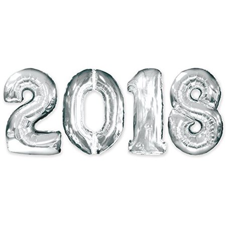 2018 New Year 34 Inch Silver Mylar Balloons (4/pkg) Pkg/1](Silver Mylar Balloons)