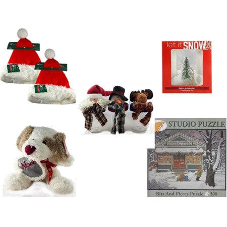 Christmas Fun Gift Bundle [5 Piece] - Trim A Home Deluxe Santa Hat Adult Large Set of 2 - Let It Snow Glass Ornament Deer - Set of 3 Containers With   Character Lids - Cuddly Friends Noel Puppy  10