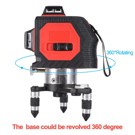 Yosoo 360° Rotary 12 Line Laser Level Self Leveling Vertical Horizontal Cross Lines 3D Laser Leveler Measure Tool, Leveling Tool,Laser