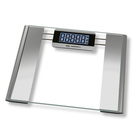 Woodsam Ultra Wide Digital Body Weight Bathroom Scale Tempered Glass 400lb Capacity Clear