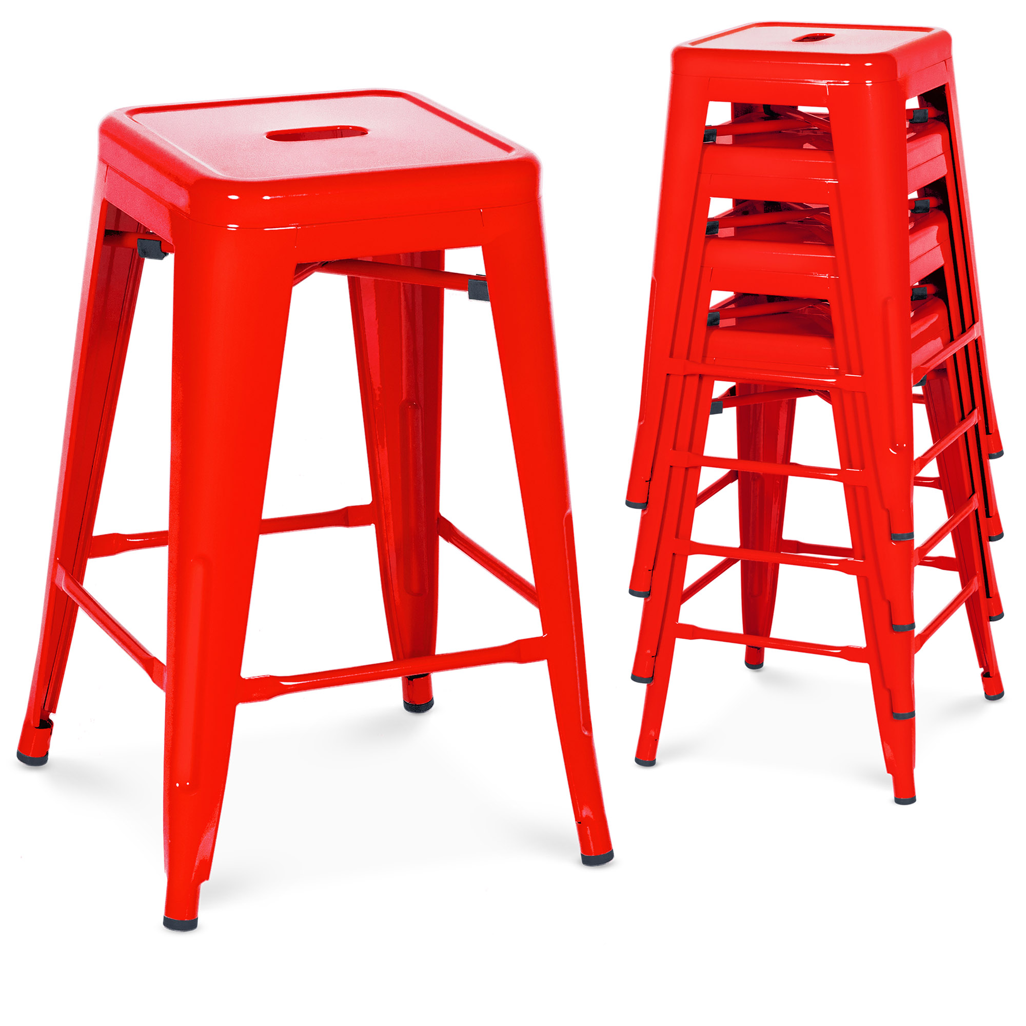 Amazing Best Choice Products 24In Set Of 4 Indoor Outdoor Stackable Backless Counter Height Stools Red Gmtry Best Dining Table And Chair Ideas Images Gmtryco