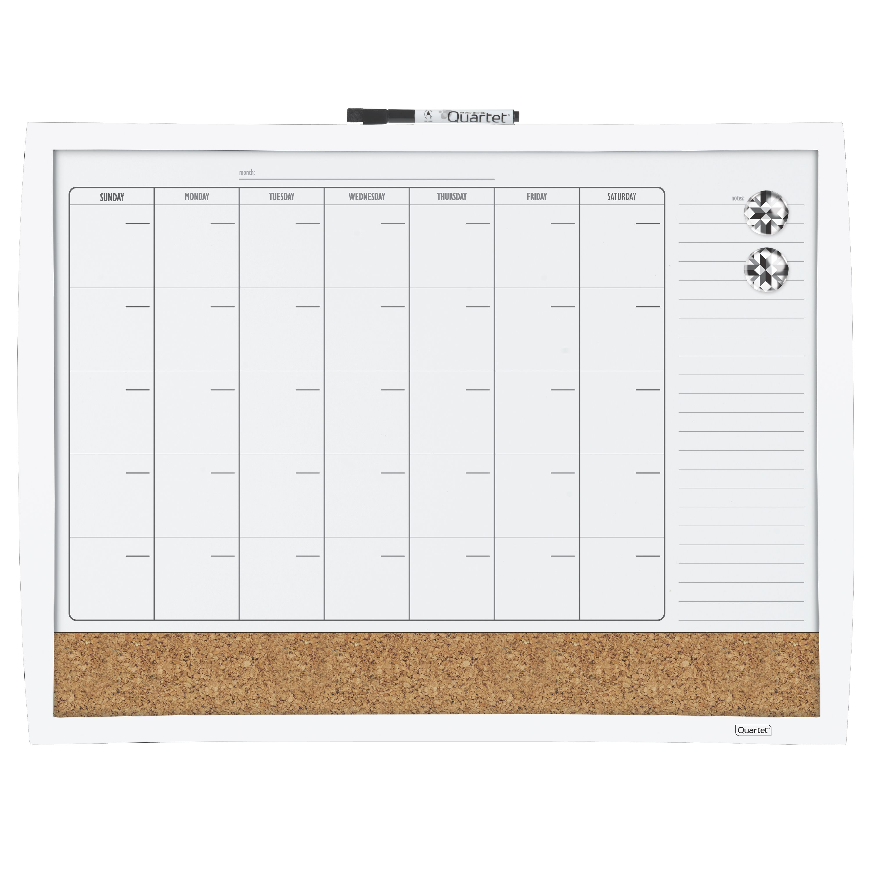 "Quartet 3-In-1 Calendar Combination Board, 17"" x 23"", Curved Frame, (38097-WT)"
