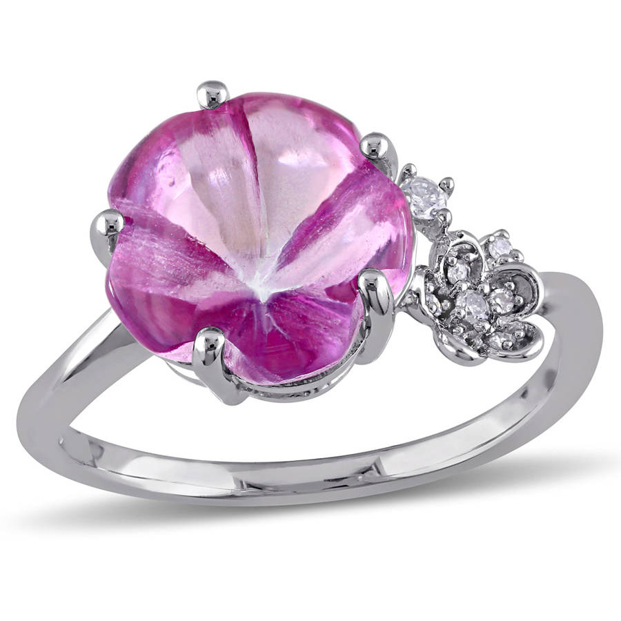 Tangelo 6-1 4 Carat T.G.W. Pink Topaz and Diamond-Accent Sterling Silver Flower Ring by Tangelo
