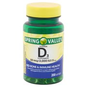 Spring Valley Vitamin D3 Softgels, 2000 IU, 200 Count