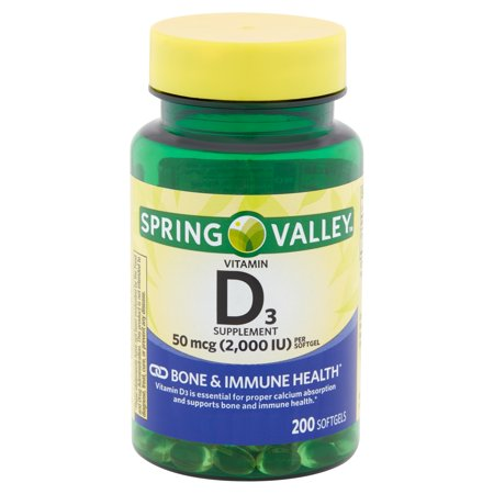 Spring Valley Vitamin D3 Supplement Softgels, 50 mcg, 200