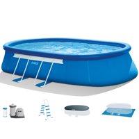 "Intex 20' x 12' x 48"" Oval Frame Above Ground Swimming Pool Set Pump & Ladder"