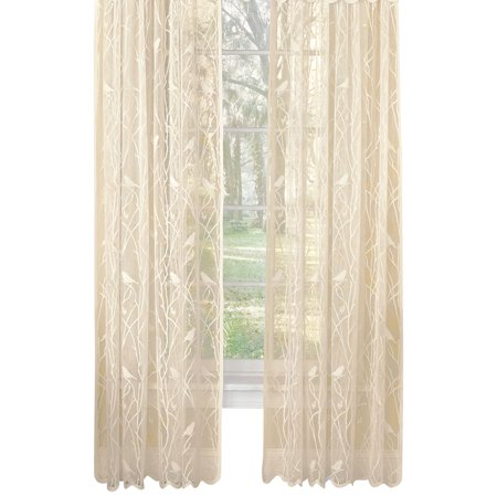 Songbird Rod Pocket Lace Curtain Panel with Scalloped Hem, 56