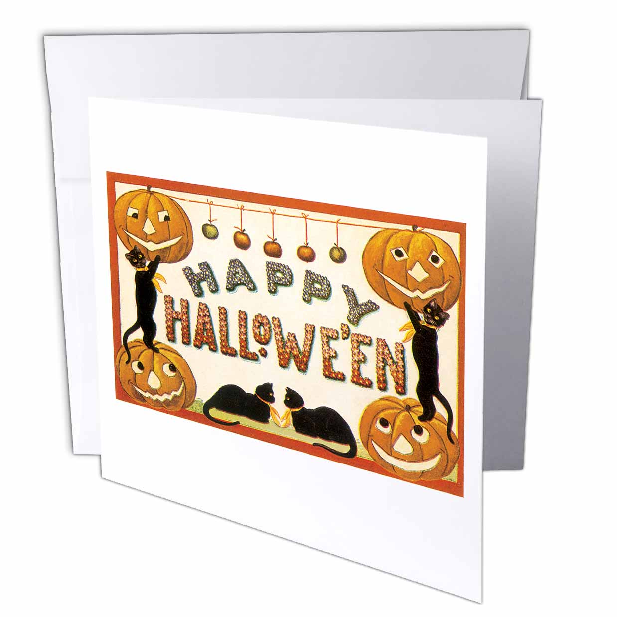 3dRose Vintage Happy Halloween Jack O Lanterns and Black Cats, Greeting Cards, 6 x 6 inches, set of 12