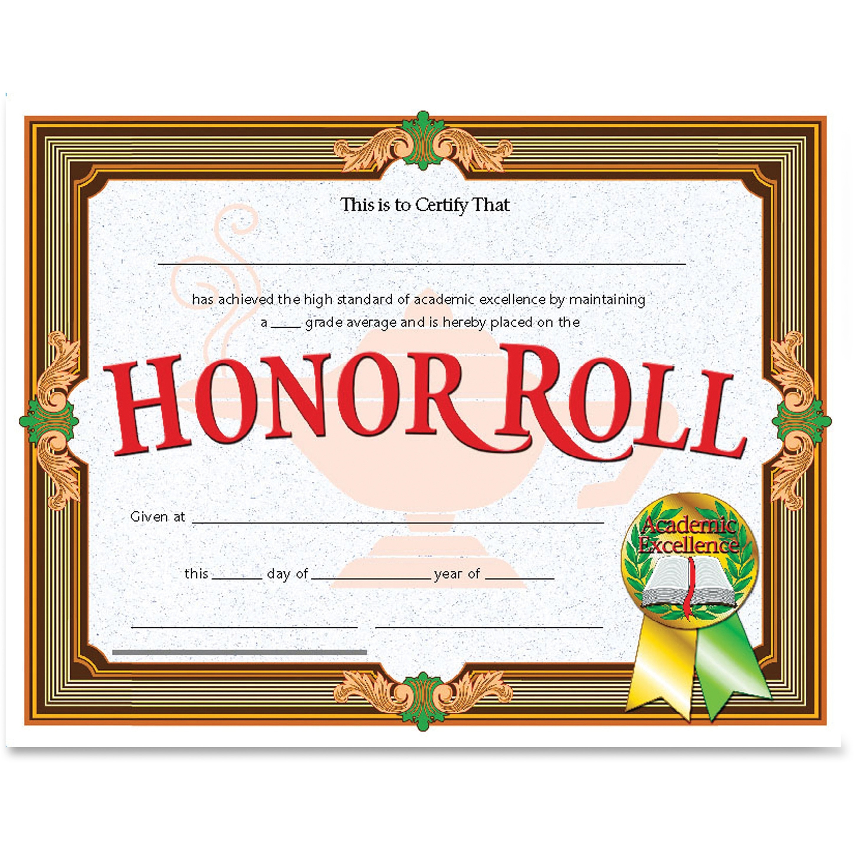Flipside Honor Roll Certificate, Assorted, 30 / Pack (Quantity)