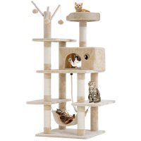 Cat Tree Tower Condo Playground Cage Kitten Multi-level 56 inches Activity Center Play House Medium Scratching Post Furniture Plush Perches with Hammock,Beige