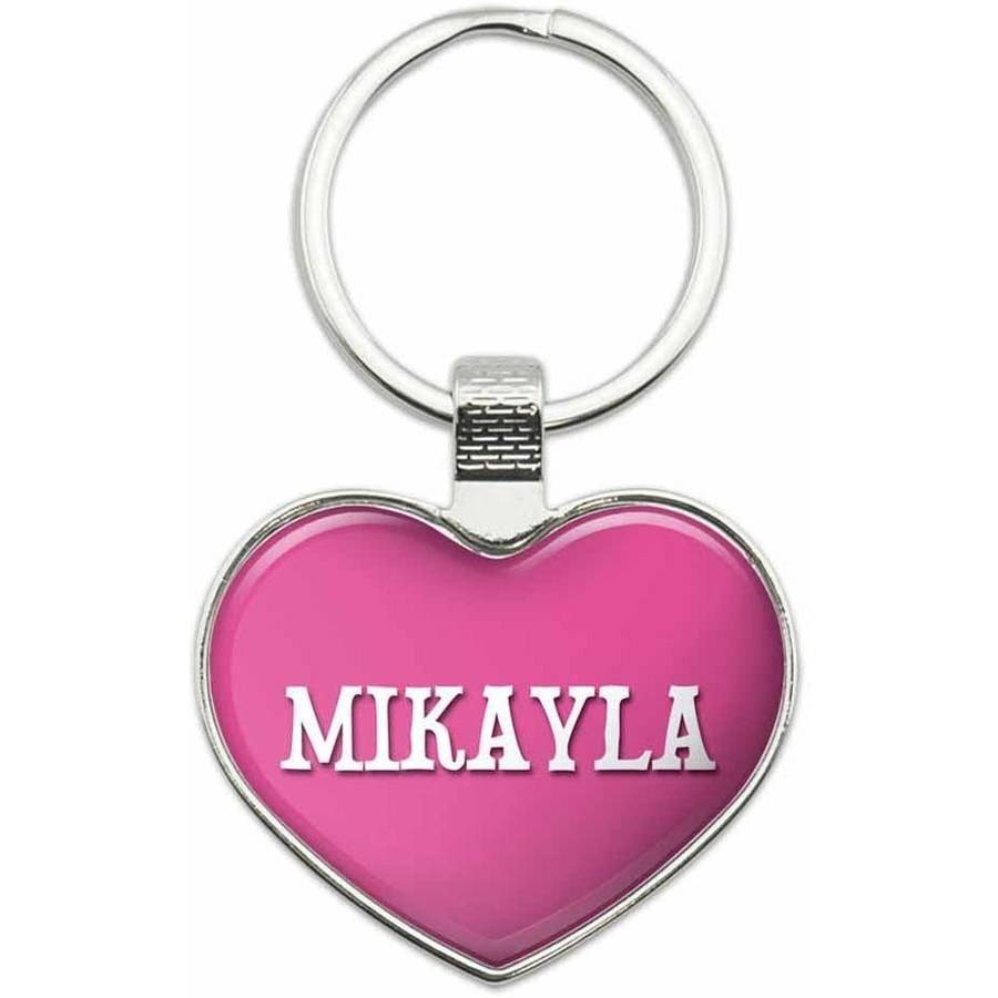 Mikayla - Names Female Metal Heart Keychain Key Chain Ring, Multiple Colors Available