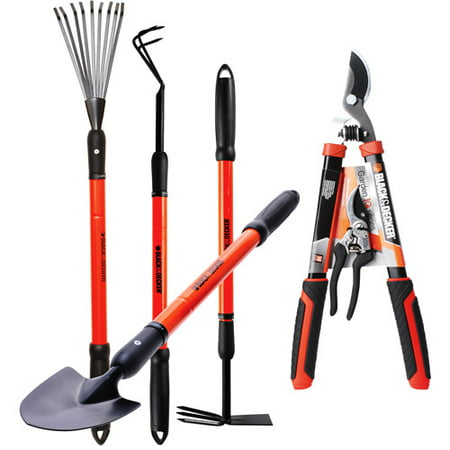 Black decker ultimate garden tool set set of 6 for Gardening tools 4 letters