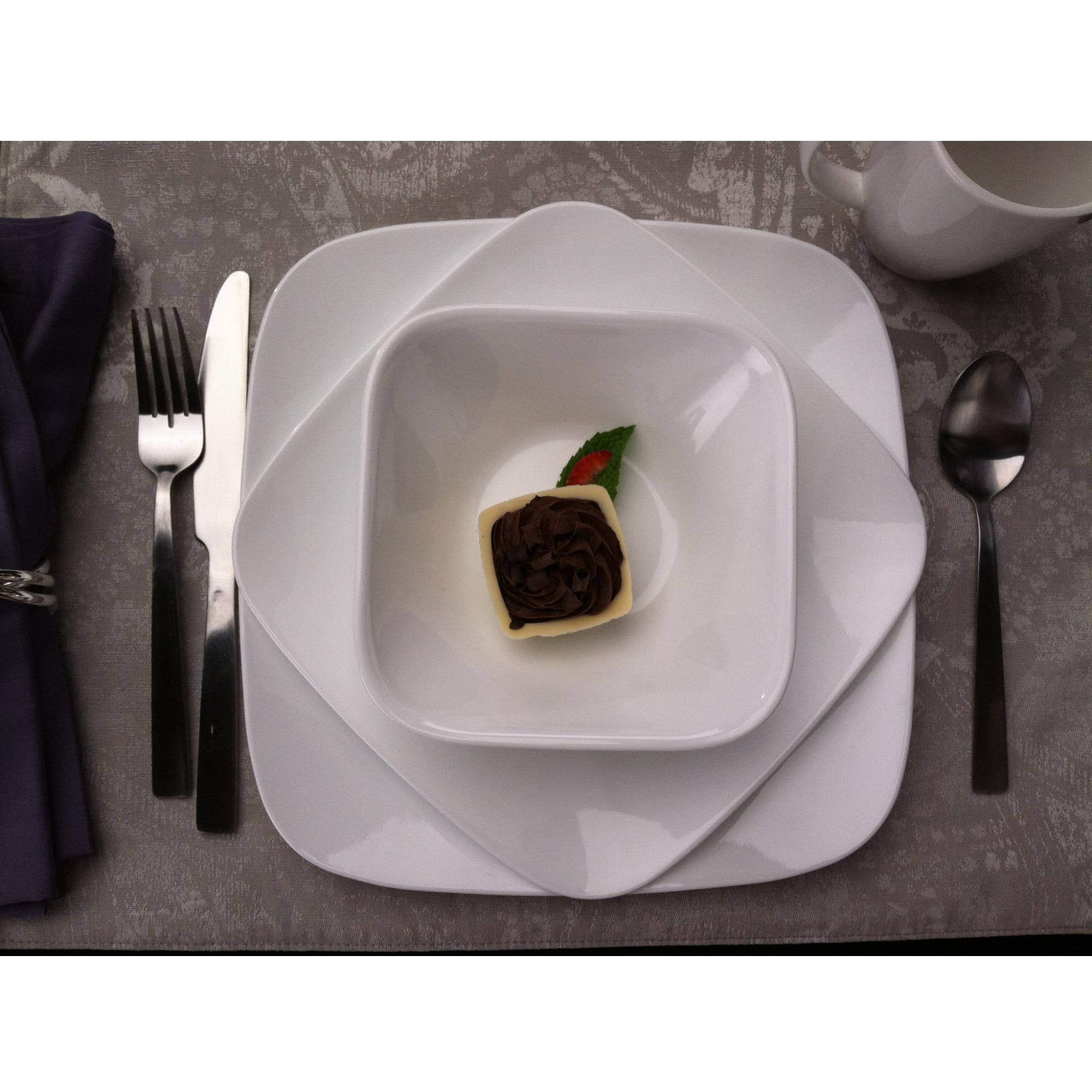 Corelle Squares Pure White 16-Piece Dinnerware Set