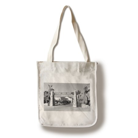 Death Valley, California - Gate Entrance View of Furnace Creek Camp (100% Cotton Tote Bag - Reusable)