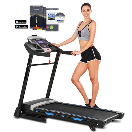 3.25HP Electric Folding Treadmill with 15% Auto Incline, Soft Drop System ,Heart Sensor APP Control for Home & Gym Cardio Fitness
