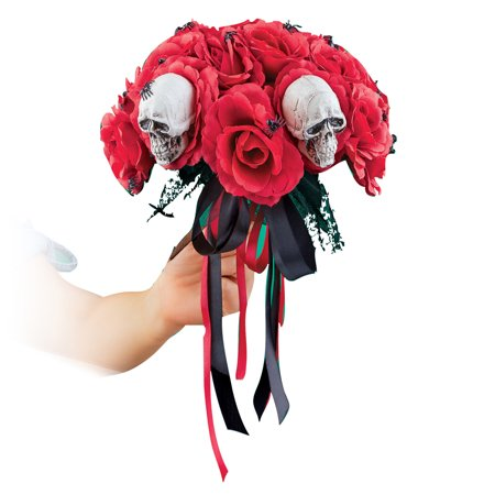 Creepy Red Roses and Spiders Halloween Bouquet for Scary Bride Costume or Home Decoration, Centerpiece](Halloween Centerpiece Ideas Cheap)