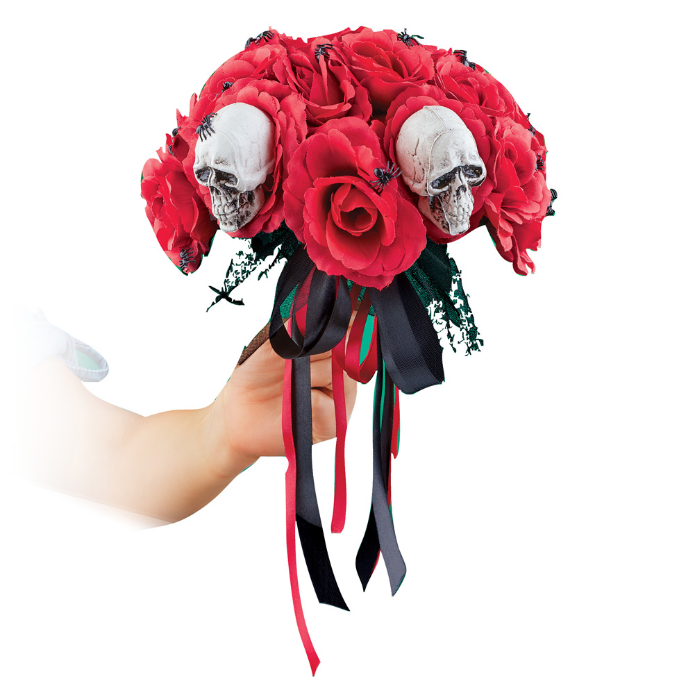 Creepy Red Roses and Spiders Halloween Bouquet for Scary Bride Costume or Home Decoration, Centerpiece