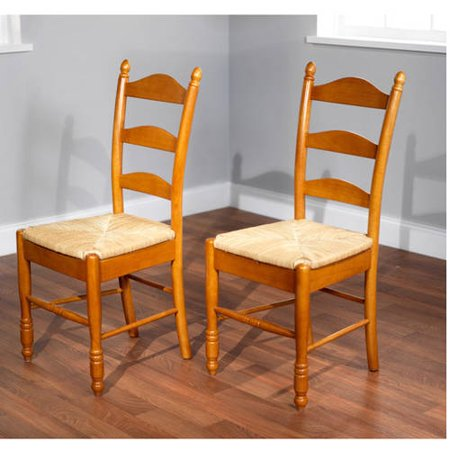 Ladder Back Rush Seat Chairs - Set of 2, Multiple Colors