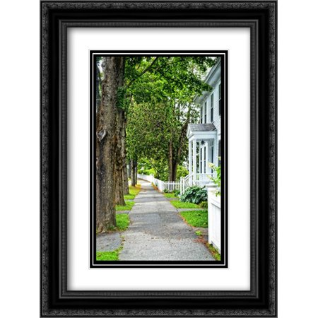 Country Town Sidewalk 2x Matted 18x24 Black Ornate Framed Art Print by Foschino, Suzanne
