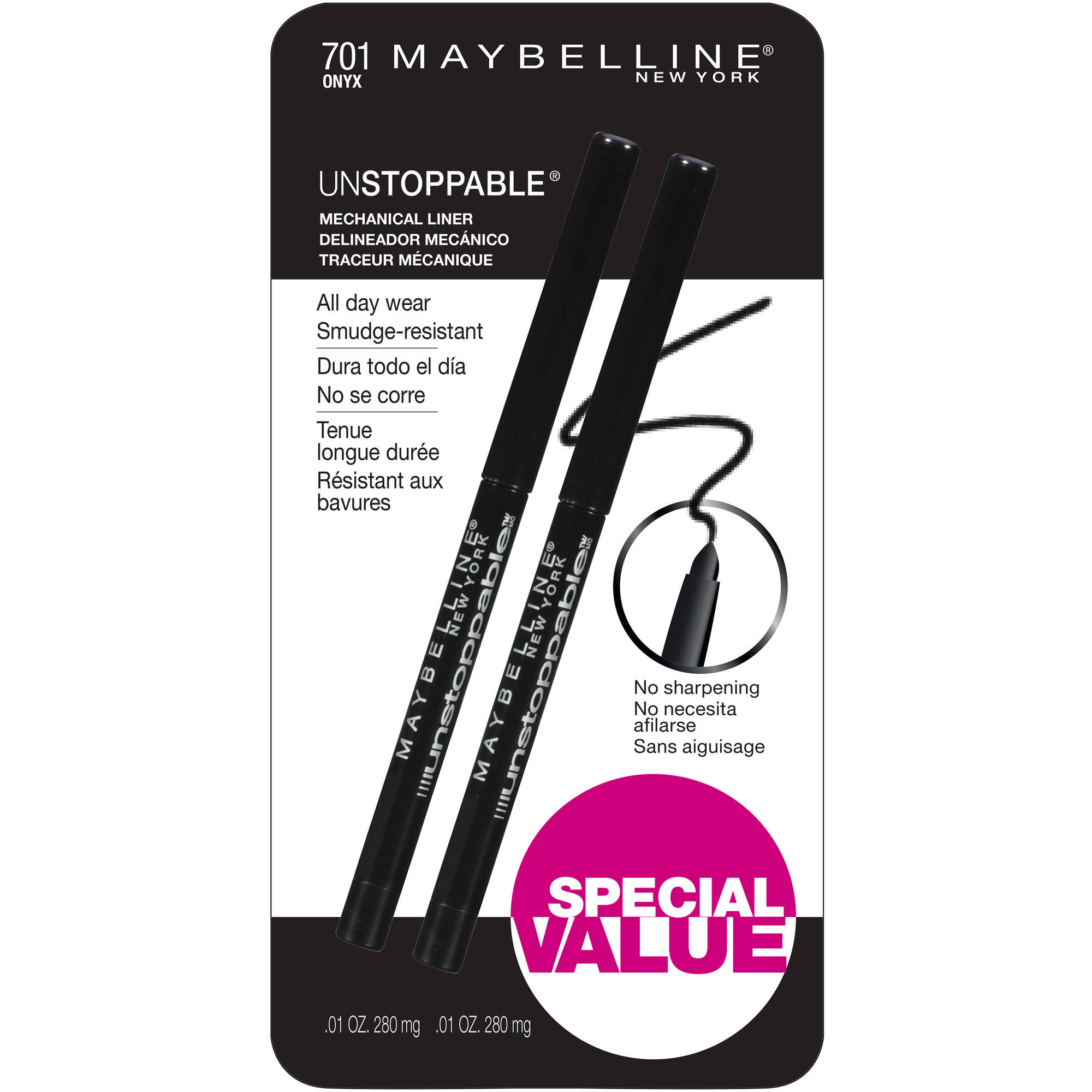 Maybelline New York Unstoppable Mechanical Eyeliner, 701 Onyx, 0.01 oz, 2 count