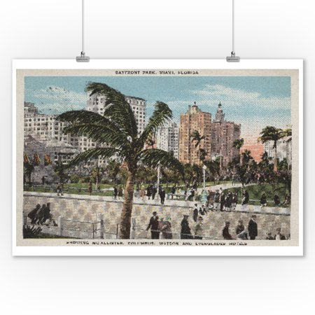 Miami, Florida - View of Bayfront Park & Hotels - Vintage Poster (9x12 Art Print, Wall Decor Travel - Hotel Vintage Park