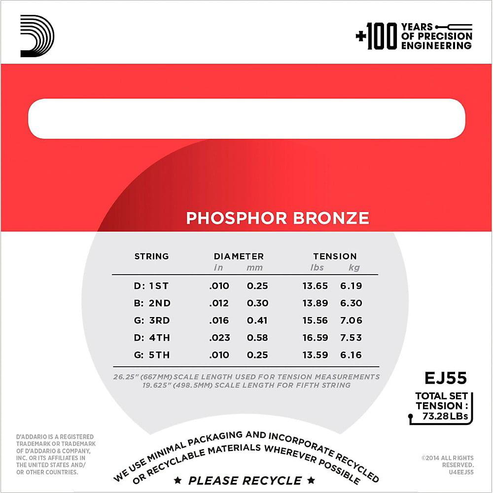 Medium 10-23 D/'Addario EJ55 5-String Banjo Strings Phosphor Bronze