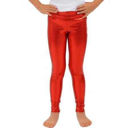 614f6810df078 Stretch Is Comfort - Girl's Metallic Mystique Leggings - Small (6) /  Mystique Red - Walmart.com