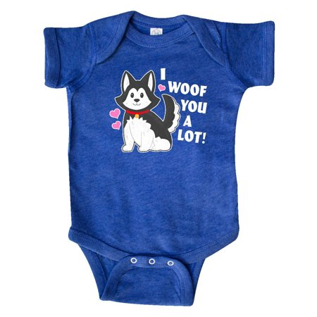 I woof you a lot with Husky Dog Illustration Infant Creeper