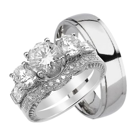 His And Hers Wedding Ring Set Matching Trio Bands For Him Titanium