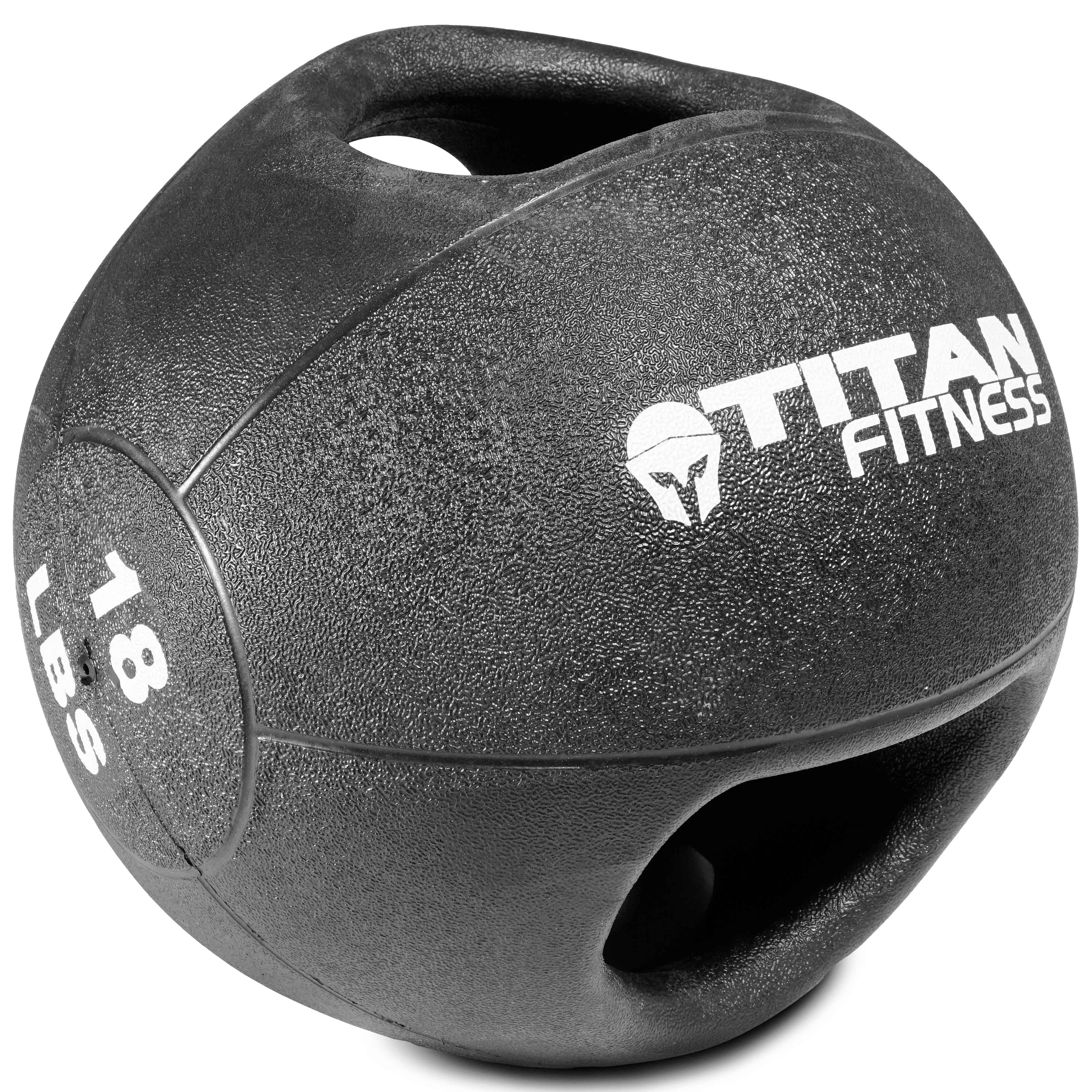 Titan Fitness 18  lb Dual Grip Medicine Ball Rubber Muscle Driver Sport Double
