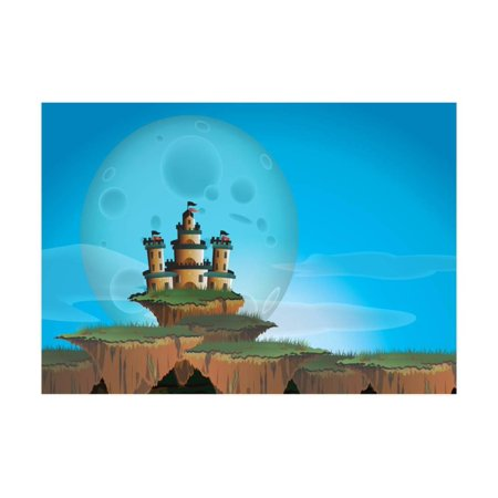 Fantasy Landscape with Castle on A Floating Island Print Wall Art By Atthidej -
