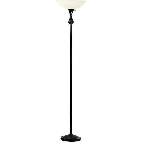Torchiere Lamp, Metal with Glass Shade