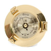 Lacquered Brass Porthole Barometer With Beveled Glass