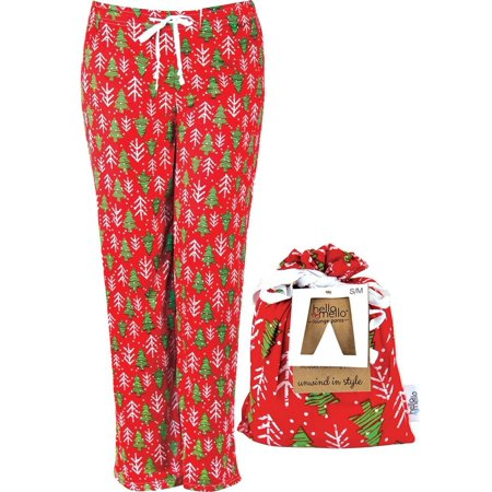 Hello Mello Holiday Lounge Pants With Tote Tree Glee