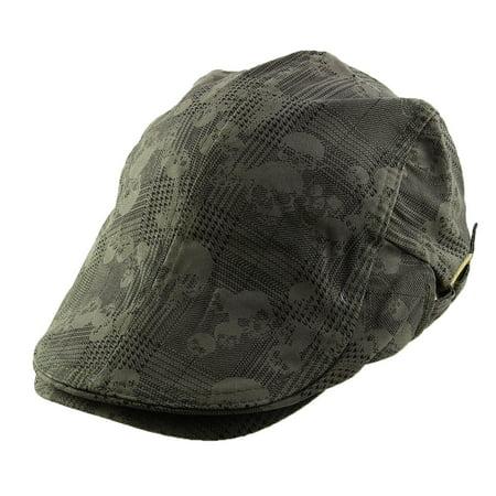 Men Women Skull Print Newsboy Ivy Cap Cabbie Driving Golf Flat Beret Hat