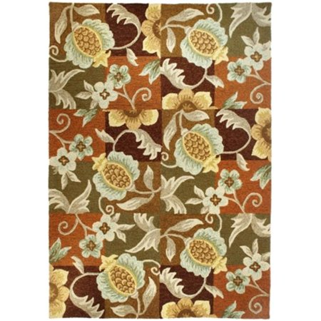 Home Fires Pp Sap001c 3 Ft X 5 Tropical Pinele And Flowers Indoor Outdoor Hand Hooked Area Rug Terracotta Com
