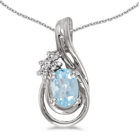 "14k White Gold Oval Aquamarine And Diamond Teardrop Pendant with 18"" Chain"