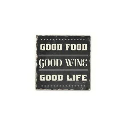 Counter Art CART11965 Good Food Good Wine Single Tumbled Tile Coaster