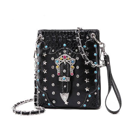 Crystal Jeweled Handbag - Jeweled Buckle Studded Front Western Crossbody Purse Small