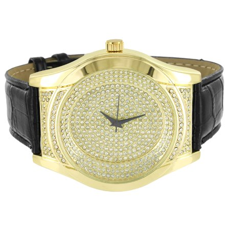 Gold Tone Mens Watches Techno Pave Wristwatch Black Leather Band Quartz Classy