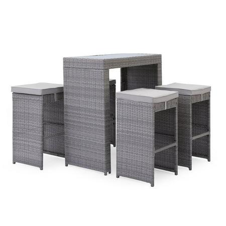Rattan Bar Furniture - Coral Coast Pembrey Rattan 5 Piece Outdoor Bar Set