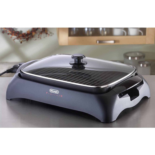 DeLonghi Alfredo Healthy Grill with Tempered Glass Lid